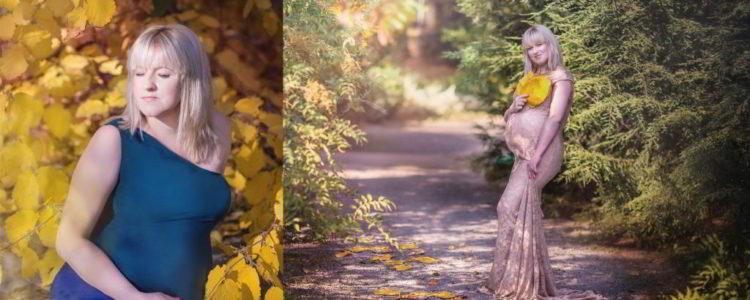 Sesja brzuszkowa w jesiennym słońcu